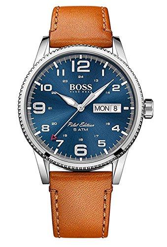 Hugo Boss Herren Quarz Armbanduhr mit Lederarmband 1513331