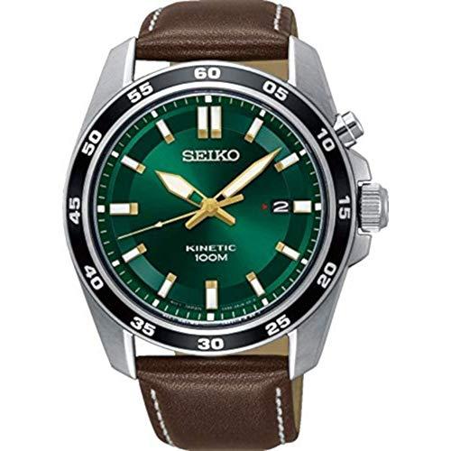 Seiko Kinetic Herren-Uhr Edelstahl mit Lederband SKA791P1