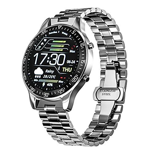 FORMIZON Smartwatch für Herren, Fitness Tracker mit Blutdruck Sauerstoff Stoppuhr Touchscreen, IP68 Wasserdicht Fitness Edelstahluhr, Uhren Schrittzähler Armbanduhr Männer Android iOS (Silber)